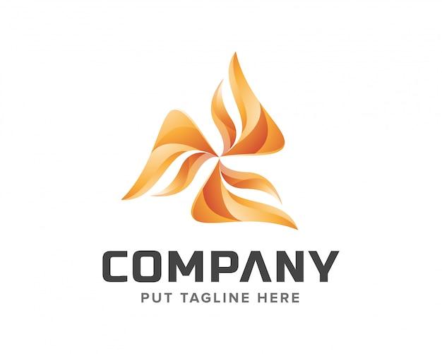 Insieme di logo del mulino a vento creativo Vettore Premium