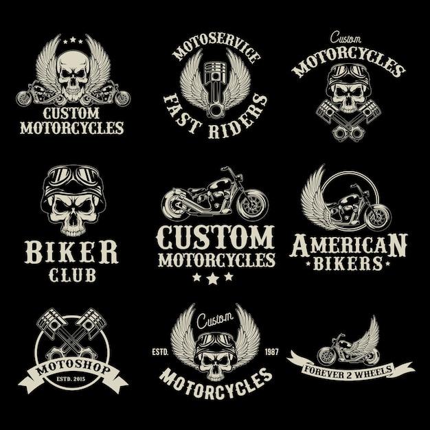 Insieme di logo del negozio di moto Vettore gratuito