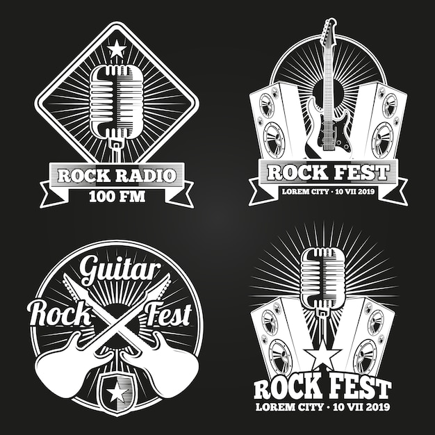 Insieme di logo della radio festival musicale. emblemi fest di musica rock Vettore Premium
