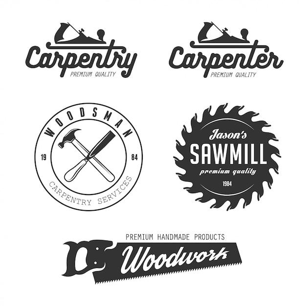 Insieme di logo di carpenteria Vettore Premium