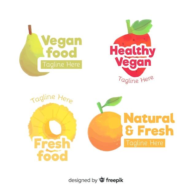 Insieme di logo di cibo sano dell'acquerello Vettore gratuito