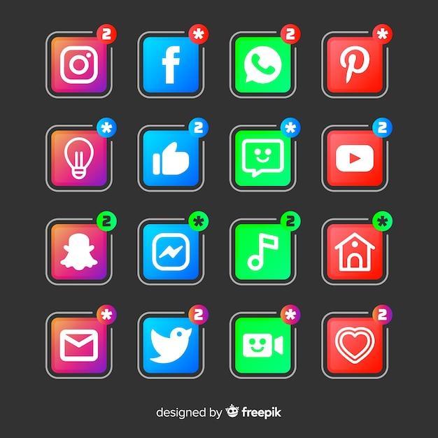 Insieme di logo di gradiente social media Vettore gratuito