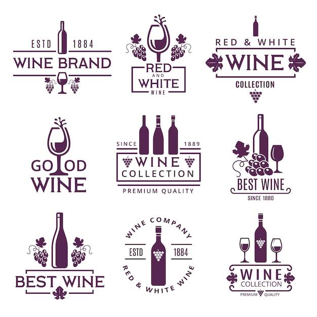 Insieme di logo o distintivi delle marche di vino Vettore Premium