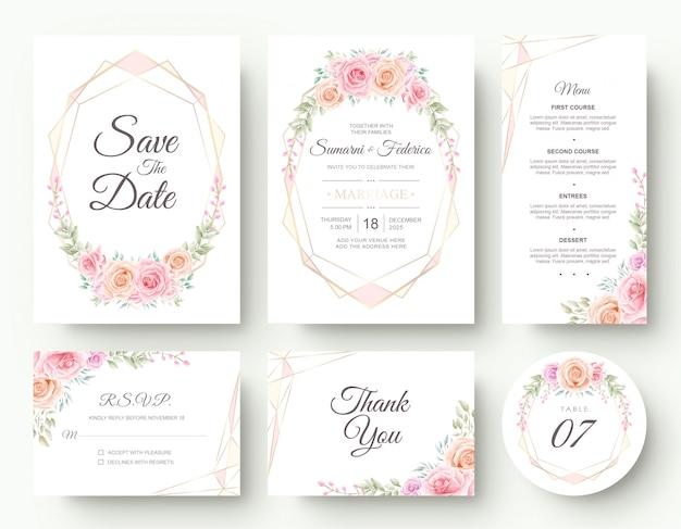 Insieme di lusso della cancelleria della carta dell'invito di nozze del fiore dell'acquerello Vettore Premium