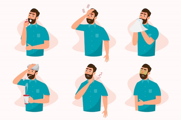 Insieme di malati che si sentono male, tosse, raffreddore, mal di gola, febbre, allergie e mal di testa Vettore Premium