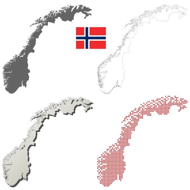 Insieme di mappa di contorno vettoriale norvegia Vettore Premium