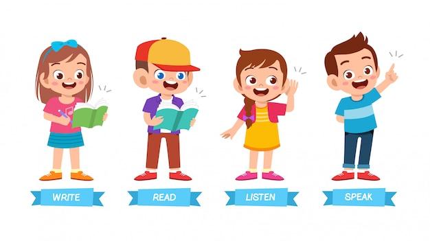 Insieme di metodi di apprendimento di base dei bambini svegli felici Vettore Premium