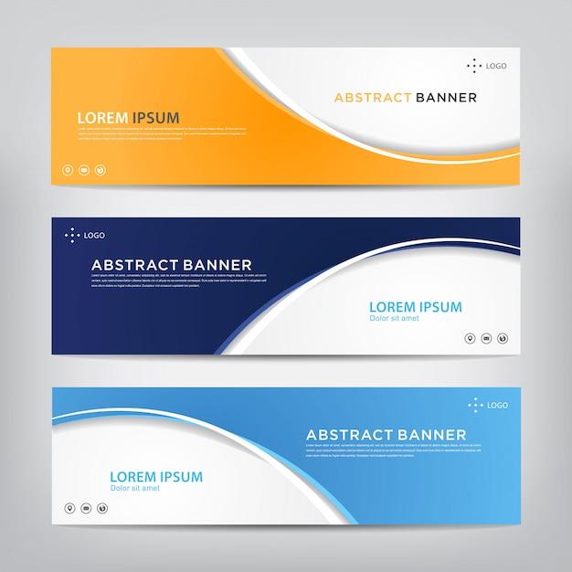 Insieme di modelli di banner astratto corporativo Vettore Premium