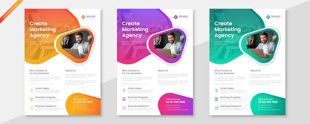 Insieme di modelli di business creativo flyer Vettore Premium