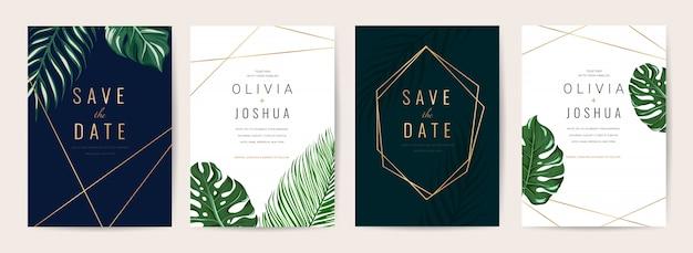 Insieme di modelli di carte invito a nozze. Vettore Premium