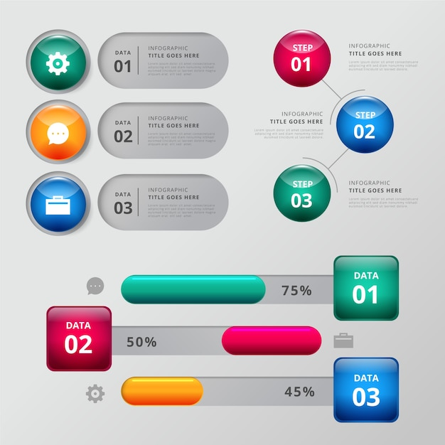 Insieme di modelli di elementi lucidi infografica Vettore gratuito