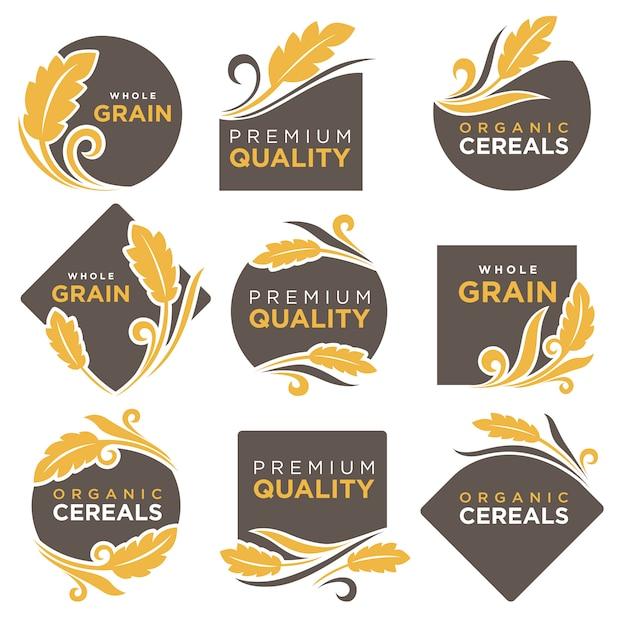Insieme di modelli di icone vettoriali di prodotti biologici di cereali Vettore Premium