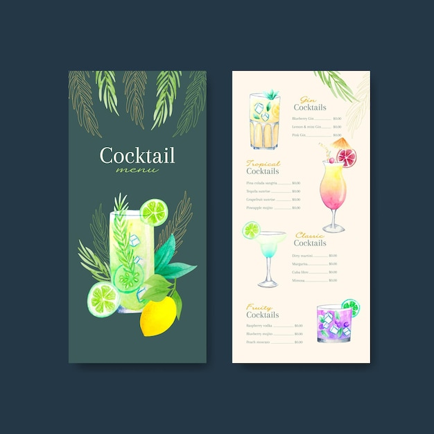 Insieme di modelli di menu cocktail Vettore gratuito