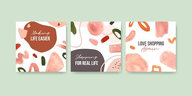 Insieme di modelli di pubblicità dell'acquerello Vettore gratuito