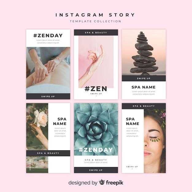 Insieme di modelli di storie instagram spa Vettore gratuito