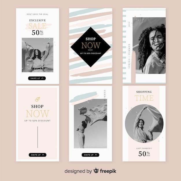 Insieme di modelli di storie instagram vendita Vettore gratuito