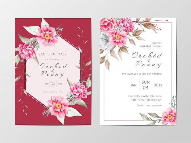 Insieme di modelli elegante rosso botanico matrimonio carta invito Vettore Premium