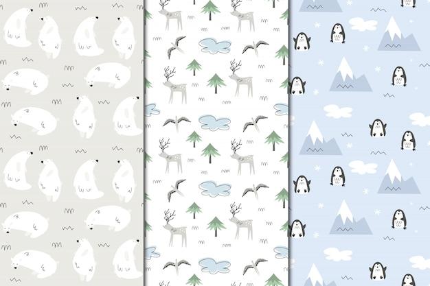Insieme di modelli senza cuciture dell'alaska. natura e animali, eschimesi. stile scandi Vettore Premium