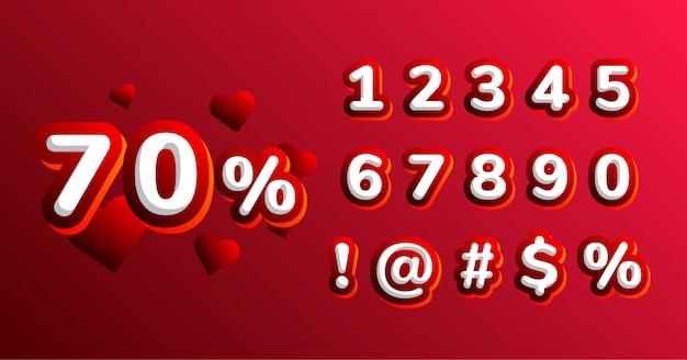 Insieme di numero del carattere della decorazione di san valentino Vettore Premium