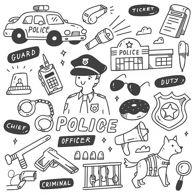 Insieme di oggetti carino polizia correlati Vettore Premium