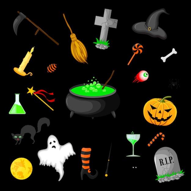 Insieme di oggetti di halloween isolato Vettore Premium