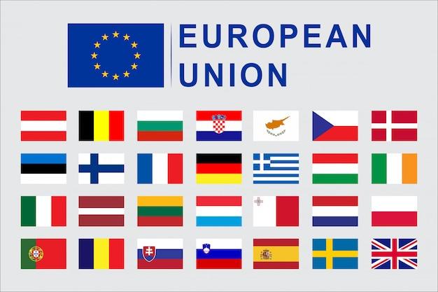 Insieme di paesi di bandiera dell'unione europea Vettore Premium