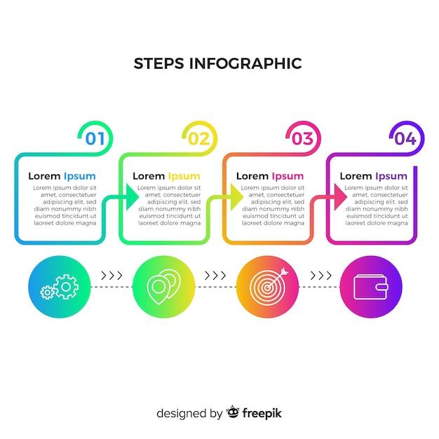 Insieme di passaggi di infografica piatta Vettore gratuito