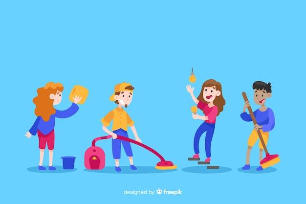 Insieme di personaggi minimalisti illustrati che fanno i lavori domestici Vettore gratuito