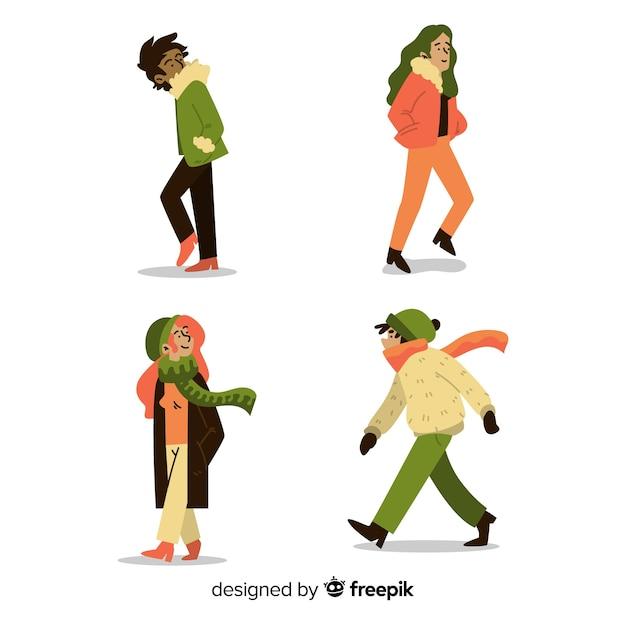 Insieme di persone che camminano in autunno Vettore gratuito