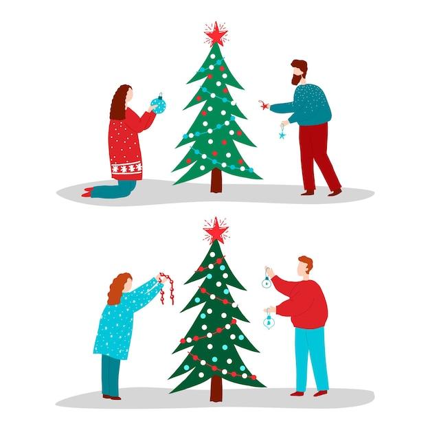 Insieme di persone che decorano l'albero di natale Vettore gratuito