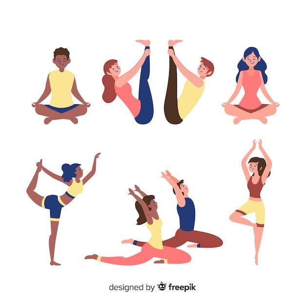 Insieme di persone che fanno yoga Vettore gratuito