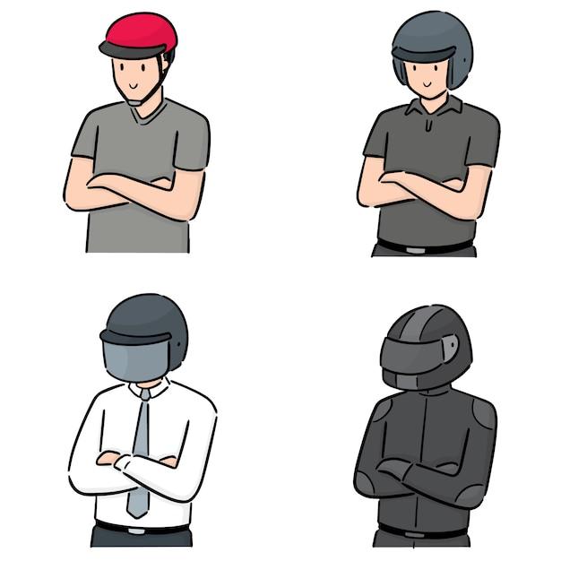 Insieme di persone che indossano il casco Vettore Premium