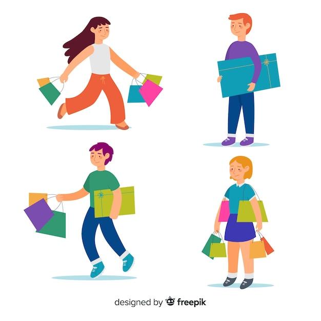 Insieme di persone che trasportano borse della spesa Vettore gratuito