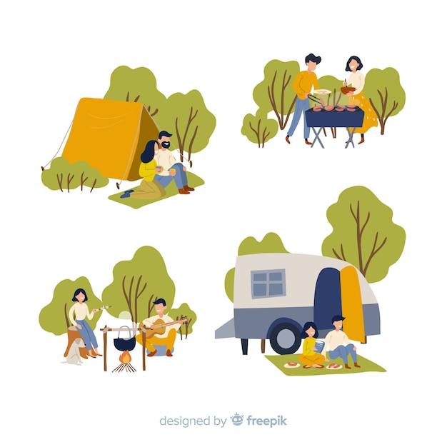Insieme di persone che vanno in campeggio Vettore gratuito
