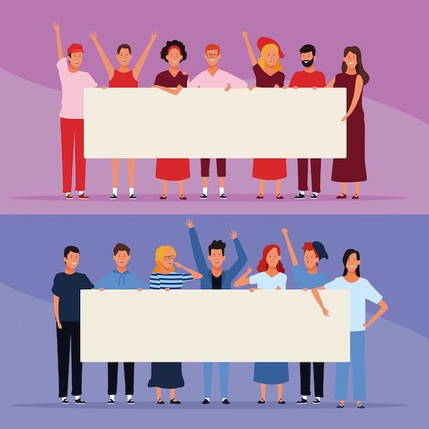 Insieme di persone con poster Vettore Premium
