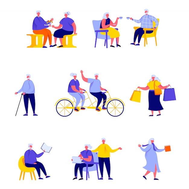 Insieme di persone piatte persone anziane felici che svolgono attività quotidiane personaggi Vettore Premium