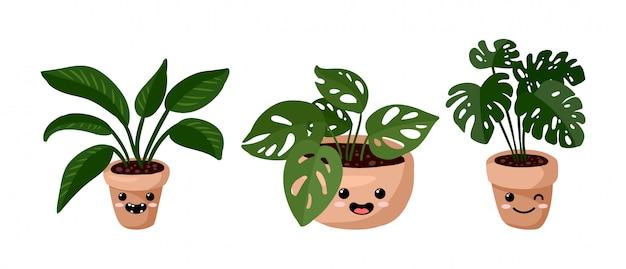 Insieme di piante succulente emoji in vaso kawaii emoticon emoji Vettore Premium