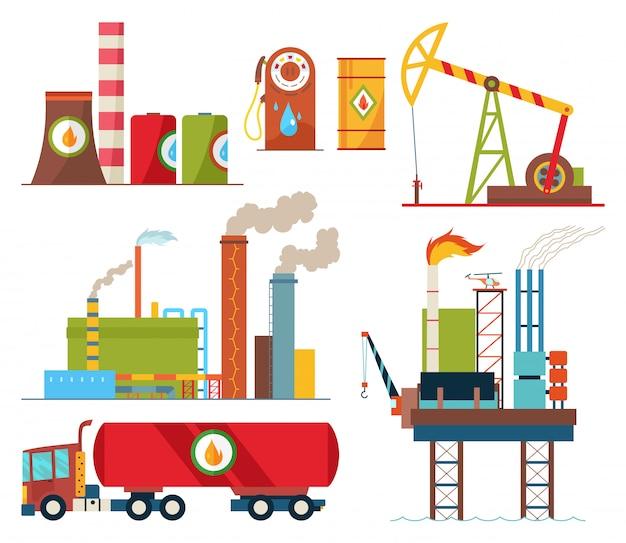 Insieme di produzione di estrazione del settore petrolifero e trasporto di petrolio e benzina Vettore Premium