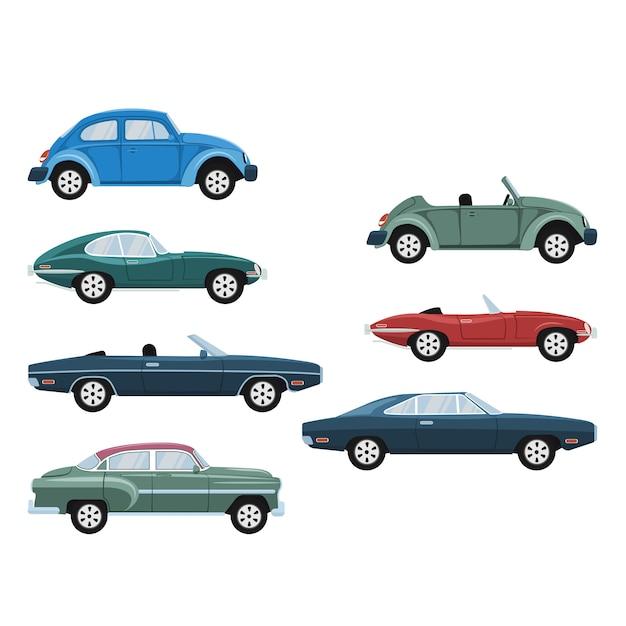 Insieme di progettazione di auto d'epoca classico retrò di lusso Vettore Premium