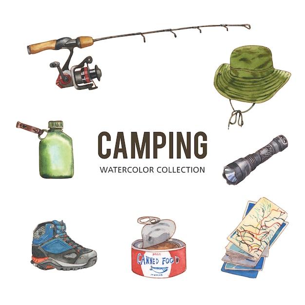 Insieme di progettazione di campeggio con l'acquerello, illustrazione disegnata a mano Vettore gratuito