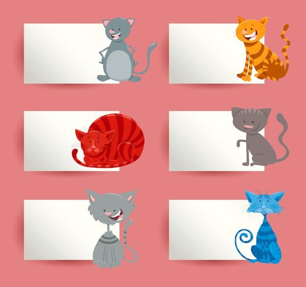 Insieme di progettazione di carte dei cartoni animati di gatti e gattini Vettore Premium