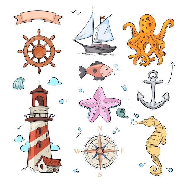 Insieme di progettazione di doodle di vettore nautico Vettore Premium