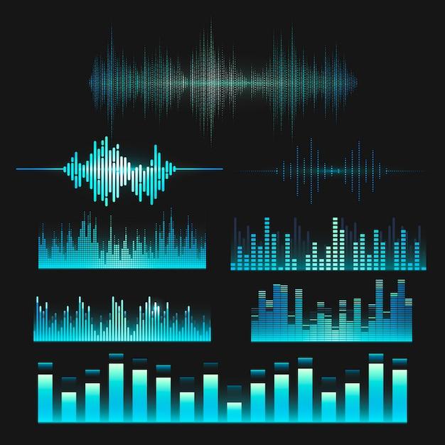 Insieme di progettazione di vettore dell'equalizzatore dell'onda sonora Vettore gratuito