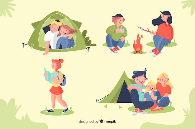 Insieme di progettazione disegnata a mano di campeggio di persone Vettore gratuito
