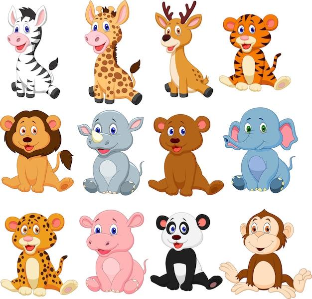 Insieme di raccolta del fumetto di animali selvatici Vettore Premium