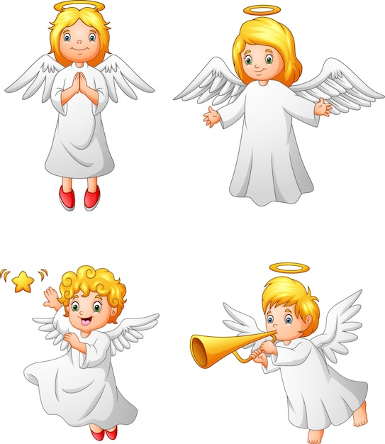 Insieme di raccolta di angeli felici del fumetto Vettore Premium