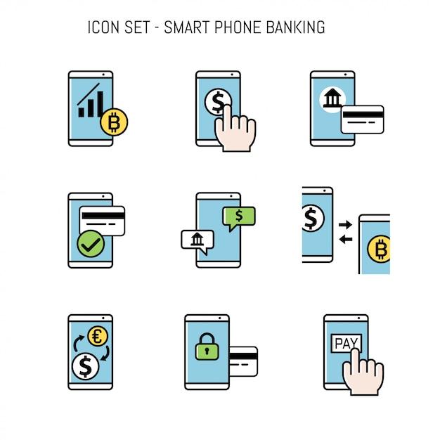 Insieme di raccolta di icone bancarie per il design Vettore Premium