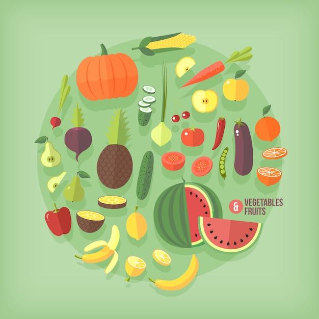 Insieme di raccolta di icone di frutta e verdura Vettore Premium