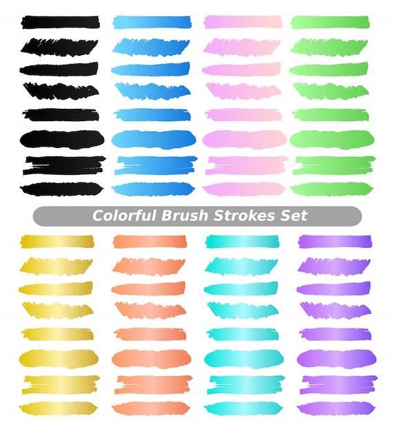 Insieme di raccolta di tratti di pennellate colorate. Vettore Premium