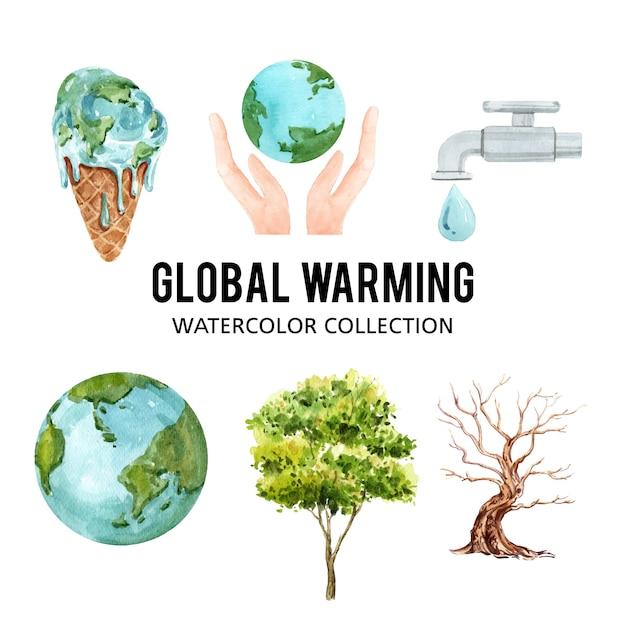 Insieme di riscaldamento globale dell'acquerello, illustrazione degli elementi isolati Vettore gratuito
